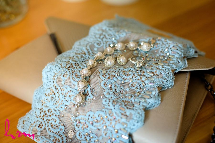 blue lace garter wedding day