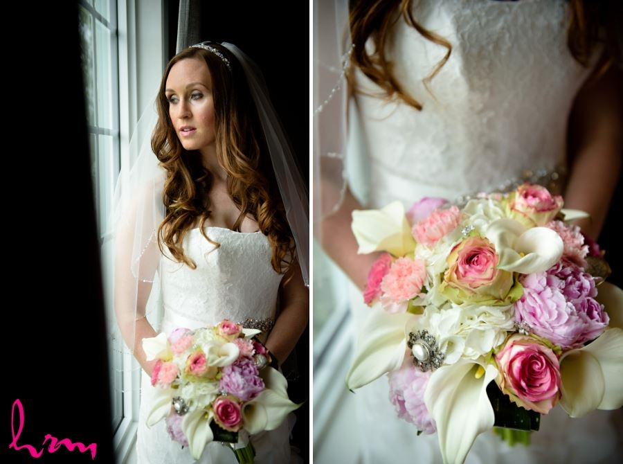 ivory and pink bridal wedding bouquet calla lillies roses peonies