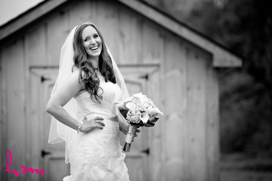 bride laughing black and white