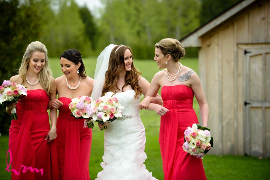 bridesmaids long red dresses