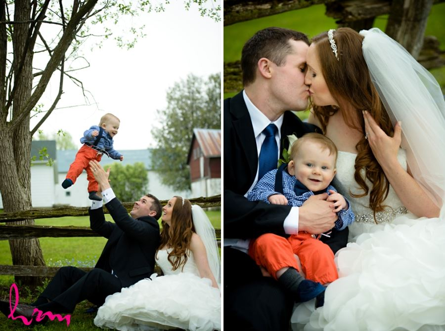 groom throwing baby into air wedding day photography