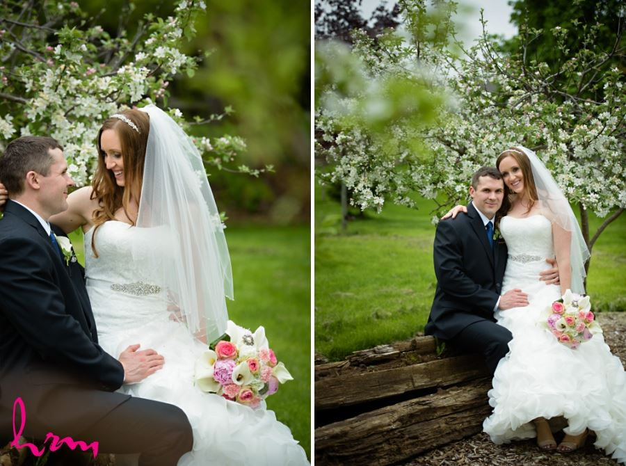 bride and groom apple blossoms