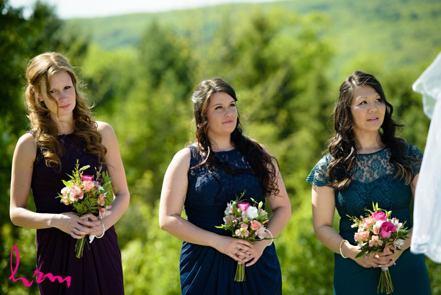 bridesmaids different navy dresses