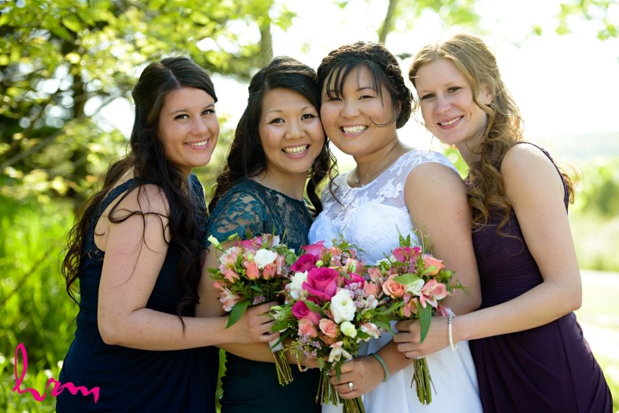 bridesmaids different shades of blue and purple