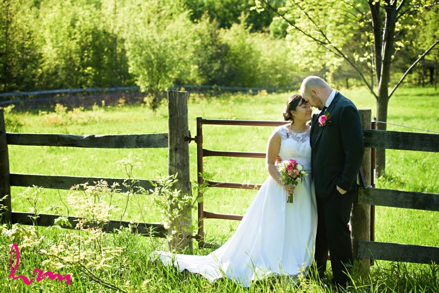 bride and groom wedding day pasture outdoor collingwood ontario