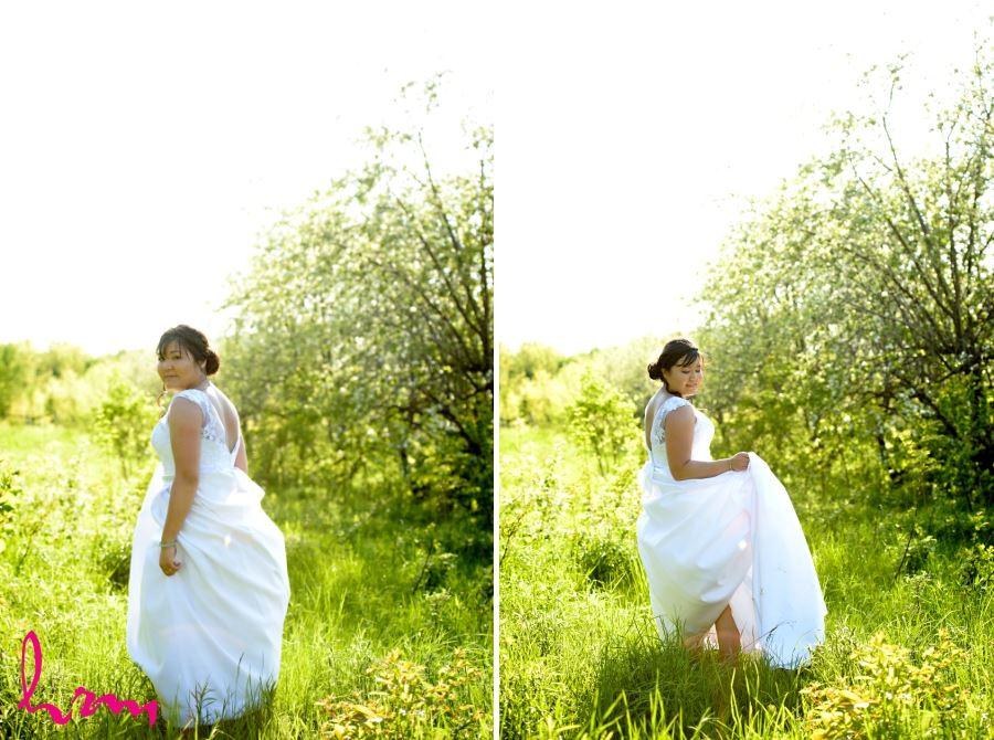 bride in meadow