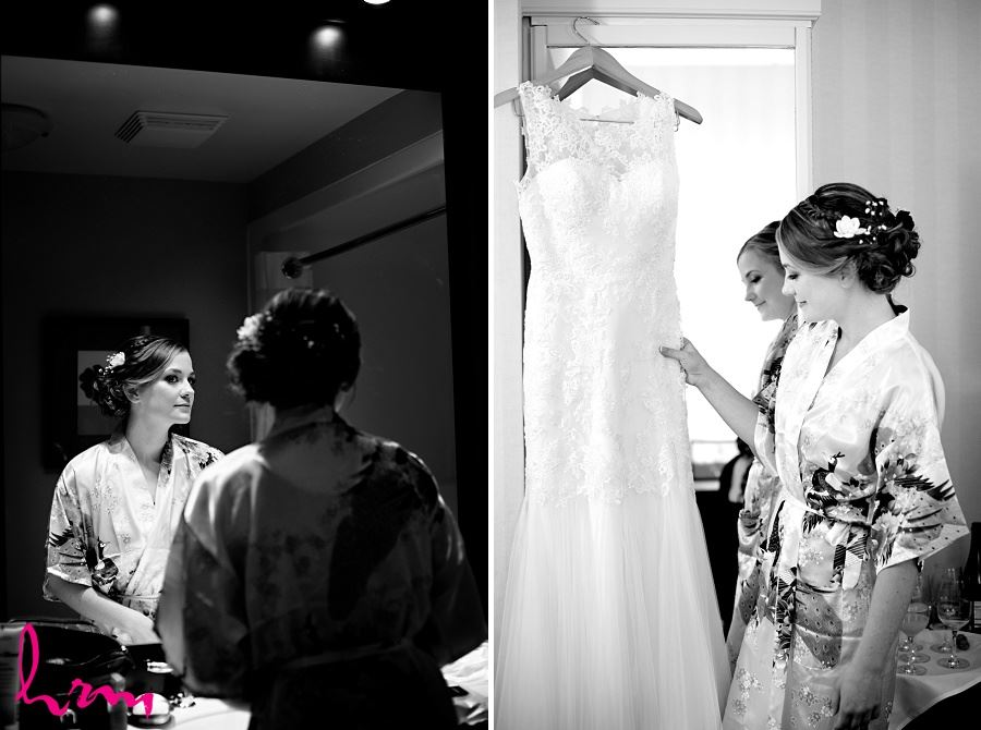 Black and white photos of bride before wedding taken by London Ontario wedding photographer