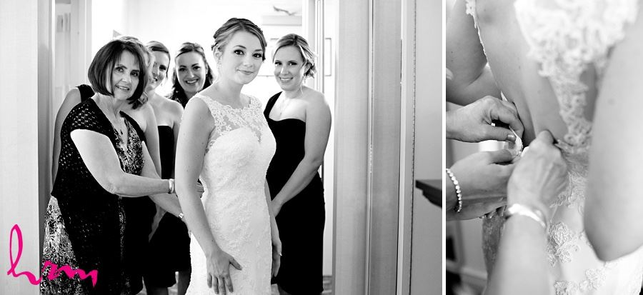 Black and white photos of bride and mother before wedding taken by London Ontario wedding photographer