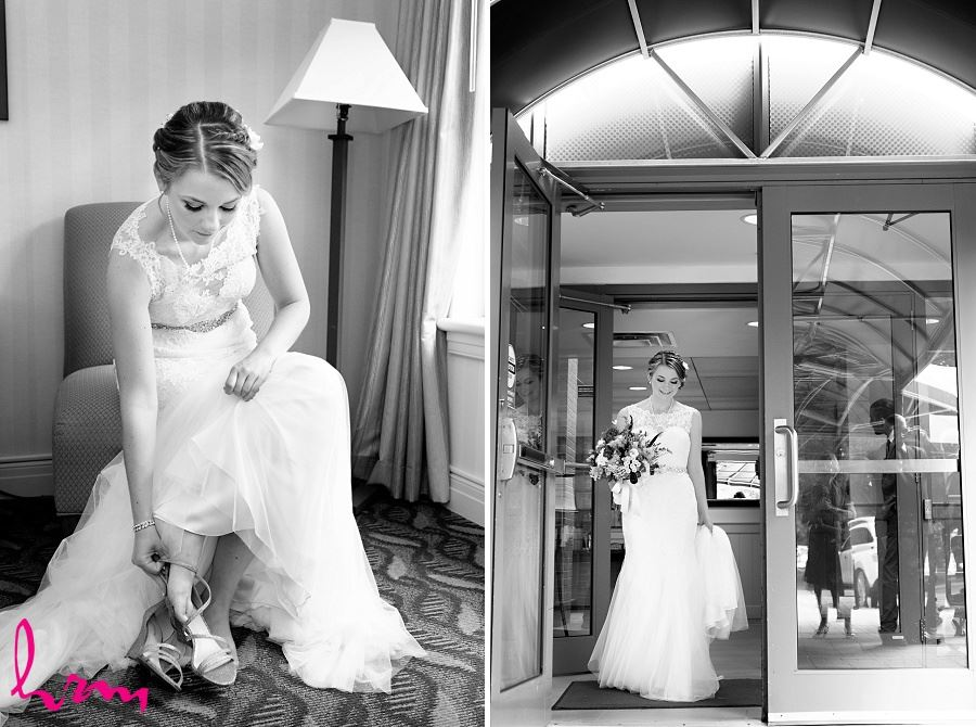 Black and white pictures of Claude getting ready for wedding taken by London Ontario wedding photographer