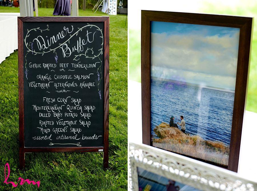 Photo of Wedding menu taken by HRM Photography London Ontario Wedding photographer