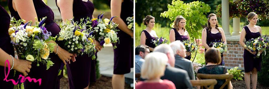 Photos of bridesmaids during wedding ceremony taken by London Ontario Wedding Photographer