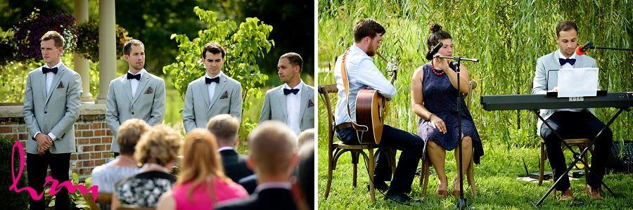 Photos of groomsmen during wedding ceremony taken by London Ontario Wedding Photographer