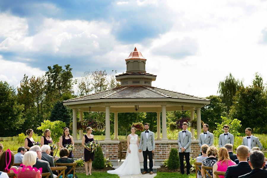 Bride and groom at outdoor wedding taken by London Ontario Wedding Photographer