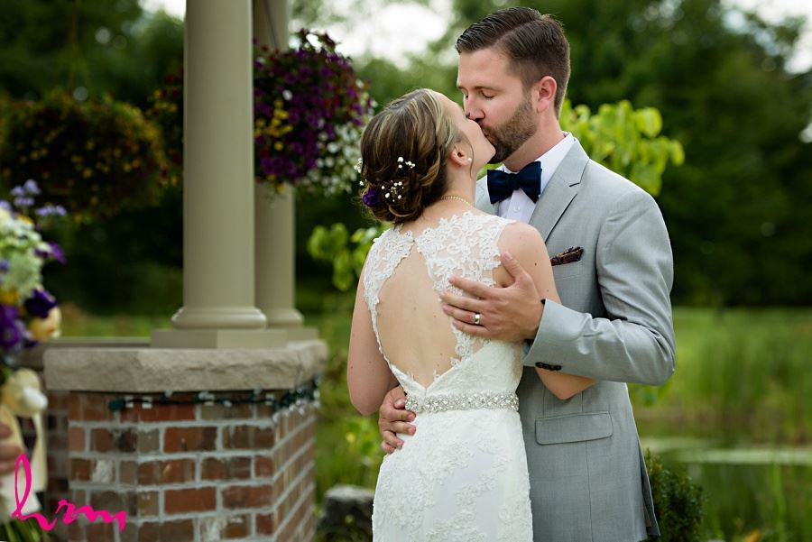 Photo of the kiss taken by HRM Photography London Ontario Wedding Photographer