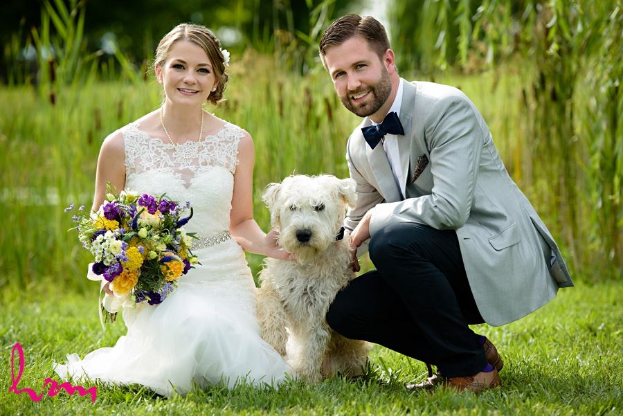 Photo of bride, groom and dog by HRM Photography London Ontario Wedding Photographer