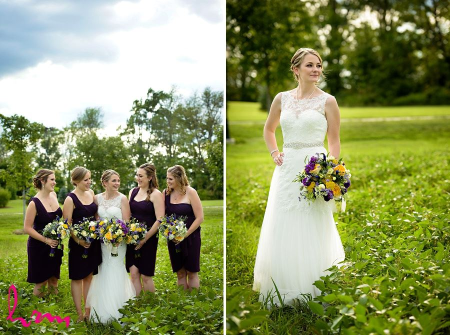 Photo of bride in field by London Ontario Wedding Photographer