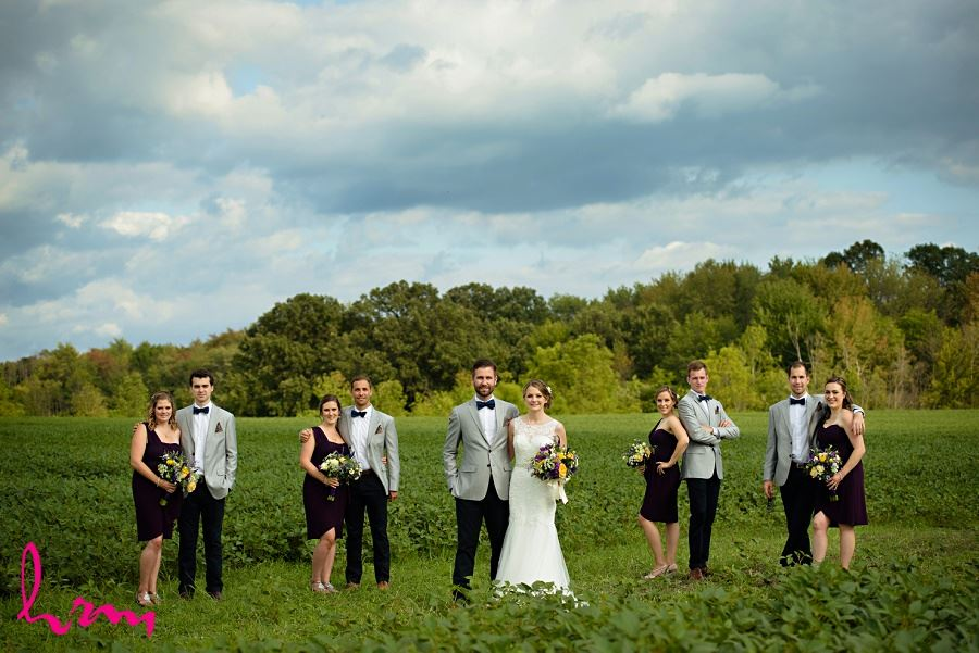 Wedding party in field by London Ontario Wedding Photographer