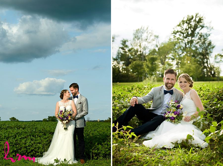 Photo of bride and groom in field by London Ontario Wedding Photographer HRM Photography