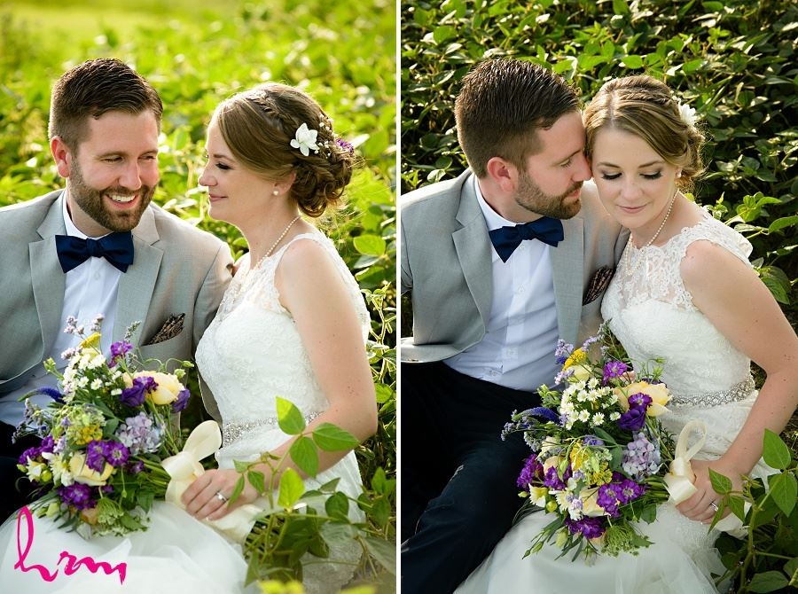 Photo of bride and groom in field by HRM Photography London Ontario Wedding Photographer