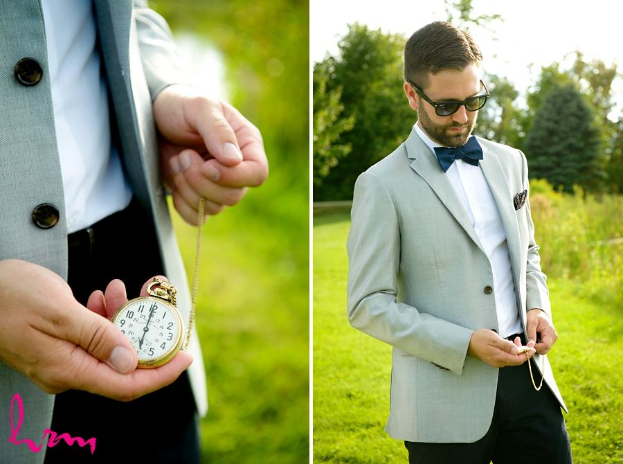 Groom with pocketwatch by HRM Photography London Ontario Wedding Photographer