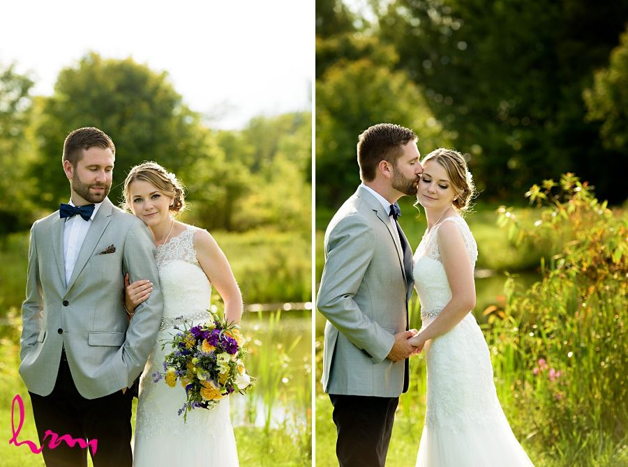Photo of bride and groom in field by London Ontario Wedding Photographer