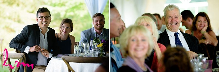 Wedding guests at dinner taken by London Ontario Wedding Photographer