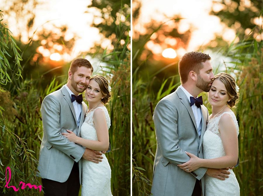 Photos of bride and groom with setting sun by HRM Photography London Ontario Wedding Photographer