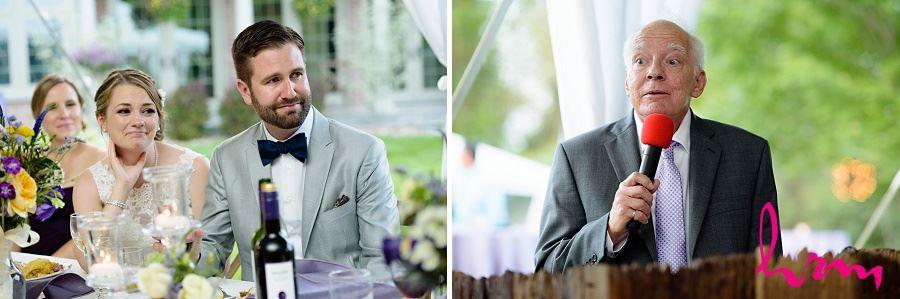 Photos of bride and groom enjoying dinner taken by London Ontario wedding photographer