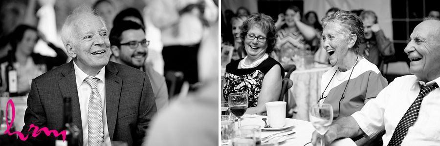 Black and white photos of wedding guests enjoying dinner taken by London Ontario wedding photographer