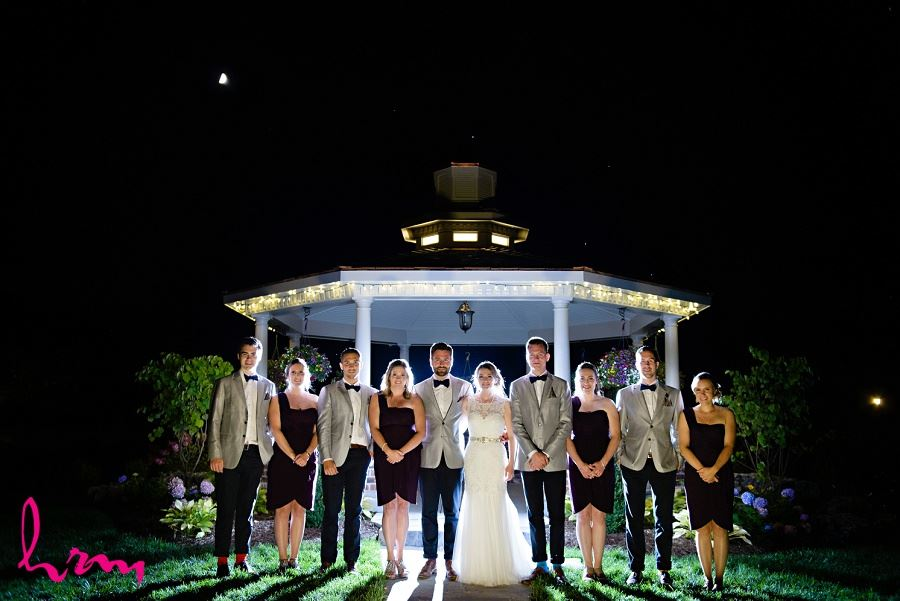 Wedding party at night taken by HRM Photography London Ontario wedding photographer