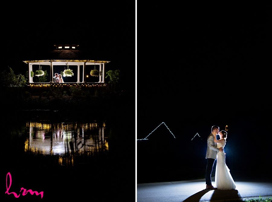 Bride and groom kissing at night taken by HRM Photography London Ontario wedding photographer