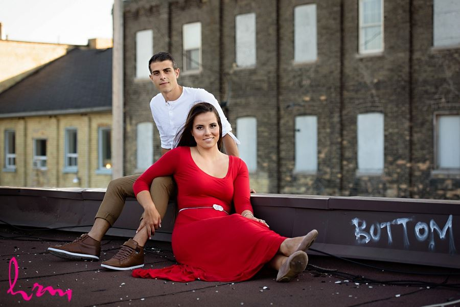 Rooftop photo taken during London Ontario engagement photography session