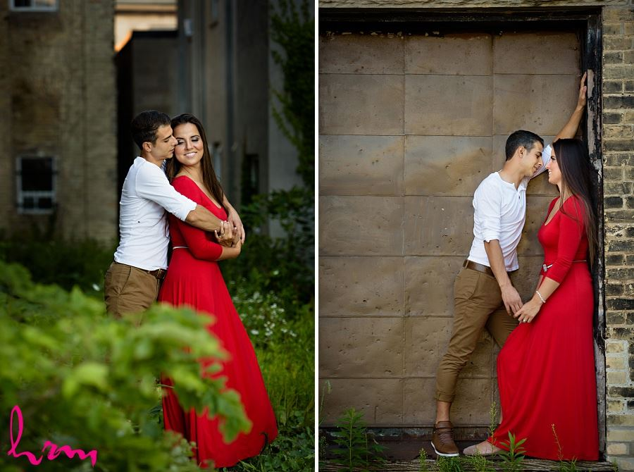 Photos of Jessica and Ahmad laughing taken during London Ontario engagement photography session by HRM Photography