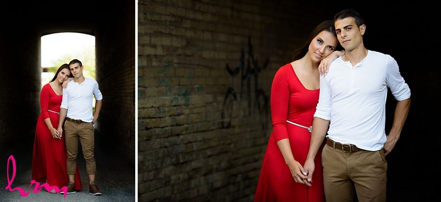 Photos of Jessica and Ahmad in industrial setting taken during London Ontario engagement photography session