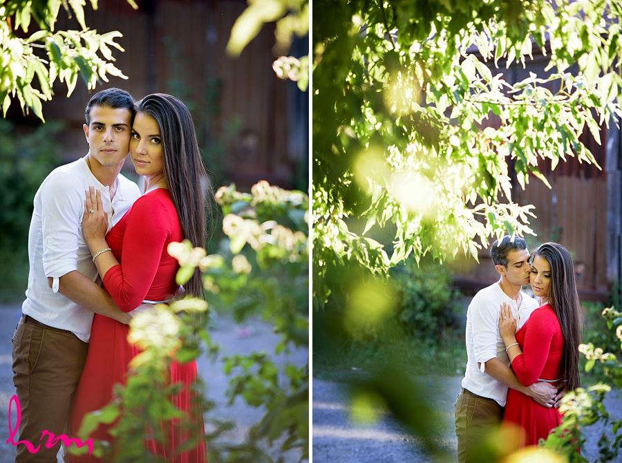 Photo of Jessica and Ahmad with trees taken during London Ontario engagement photography session