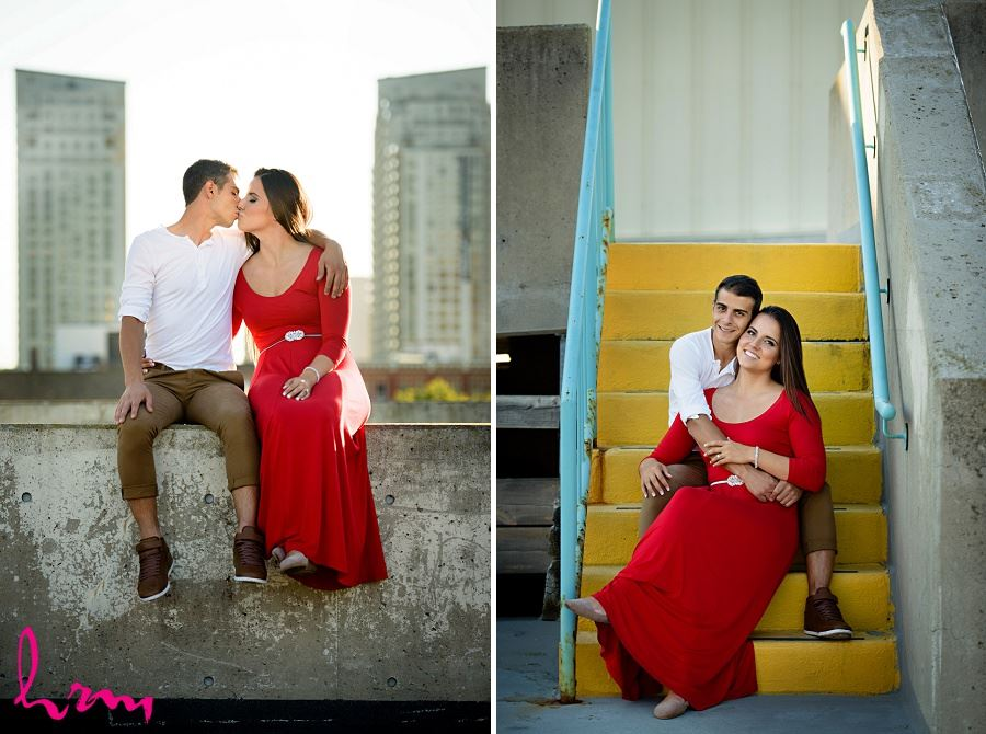 Rooftop photos of Jessica and Ahmad taken during London Ontario engagement photography session