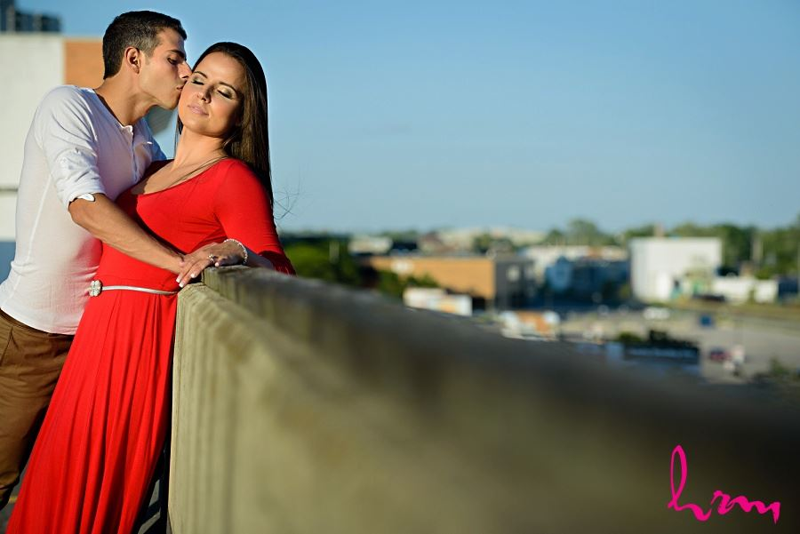 Rooftop photo of Jessica and Ahmad taken during London Ontario engagement photography session