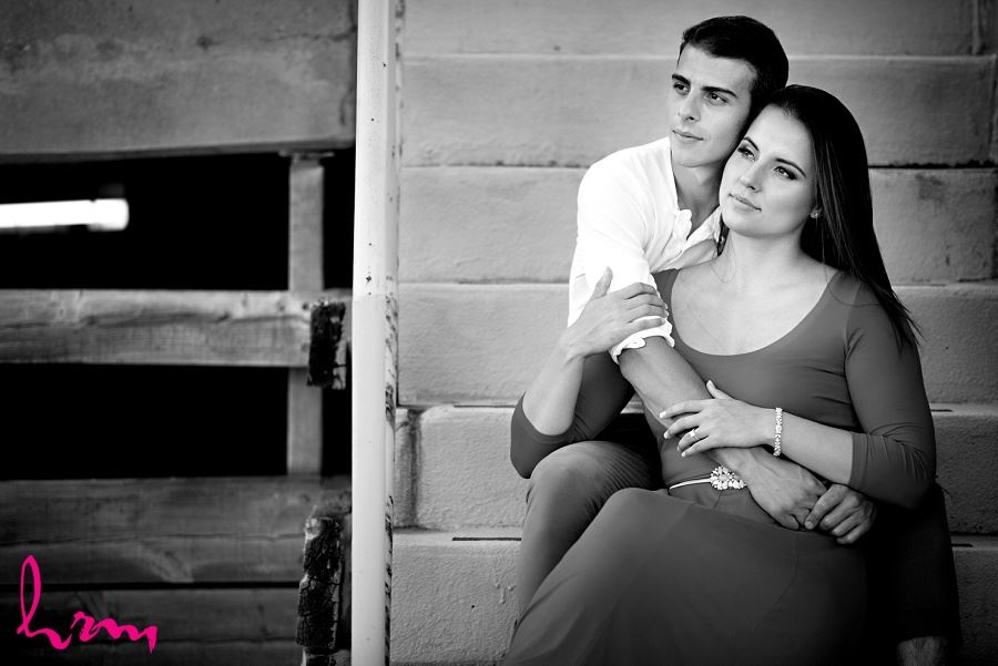 Black and white photo of Jessica and Ahmad taken during London Ontario engagement photography session taken by HRM Photography