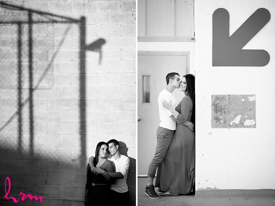 Black and white photos of Jessica and Ahmad taken during London Ontario engagement photography session taken by HRM Photography