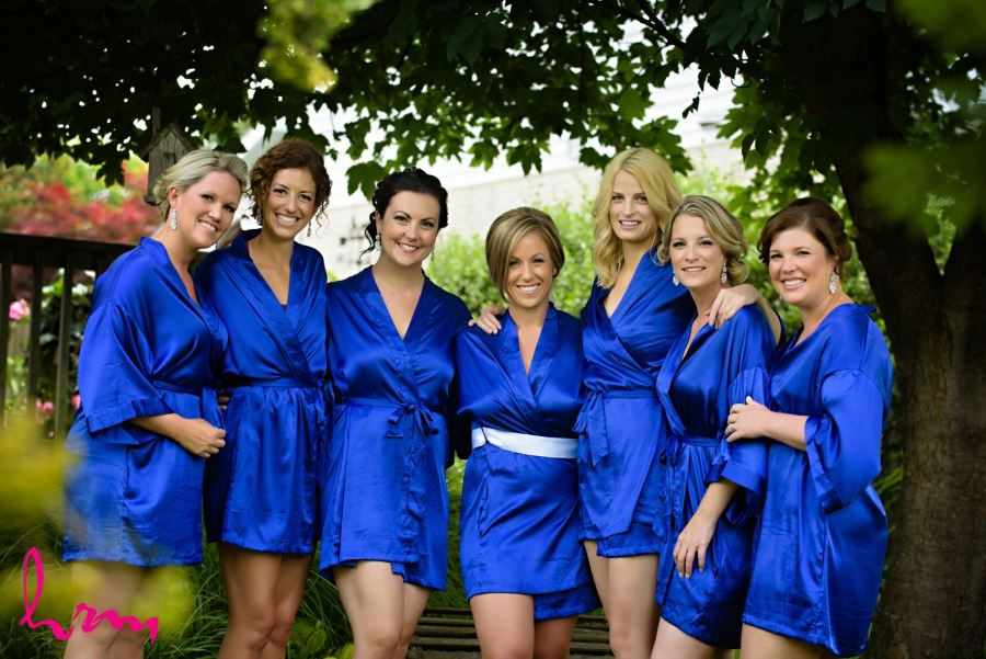 bridesmaids in electric royal blue silk robes