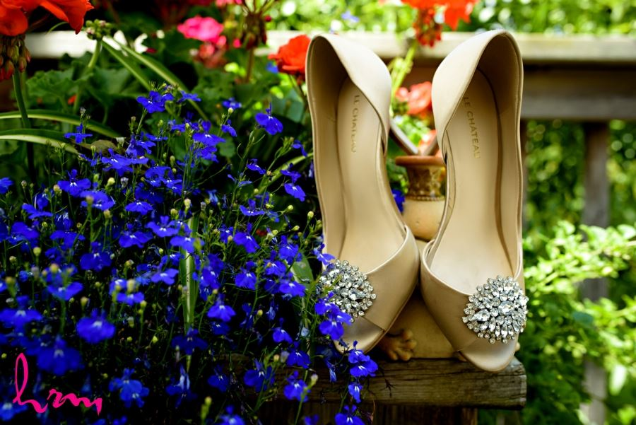 wedding shoes with jewelled broach