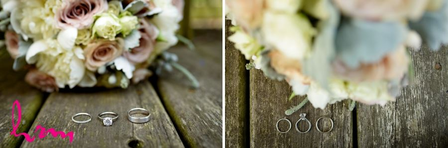 unique wedding ring shot with bridal bouquet