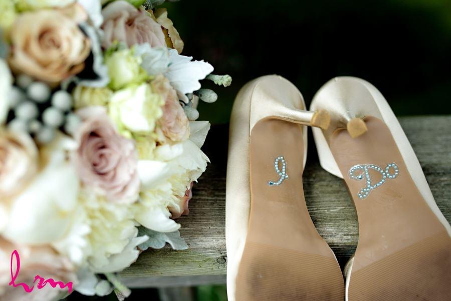 I Do written on bottom of wedding bridal shoes
