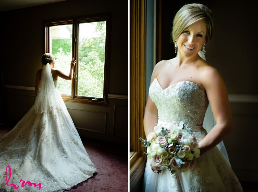 bridal portrait with pink blue and white bouquet