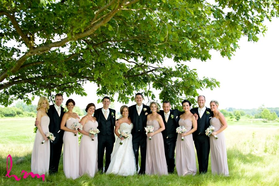wedding party in black pink dusty rose and ivory