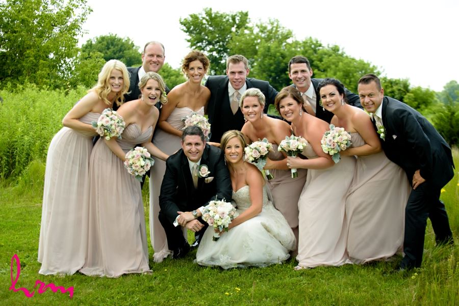 wedding party outdoor image in pink dusty rose and ivory