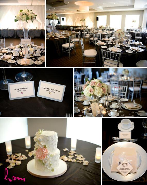 simple elegant wedding reception decor ideas black silk table cloth