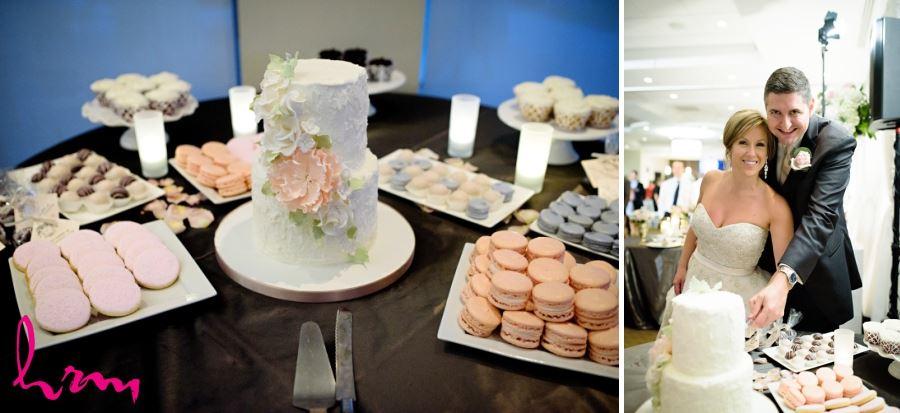 pretty two tier wedding cake with peach flowers