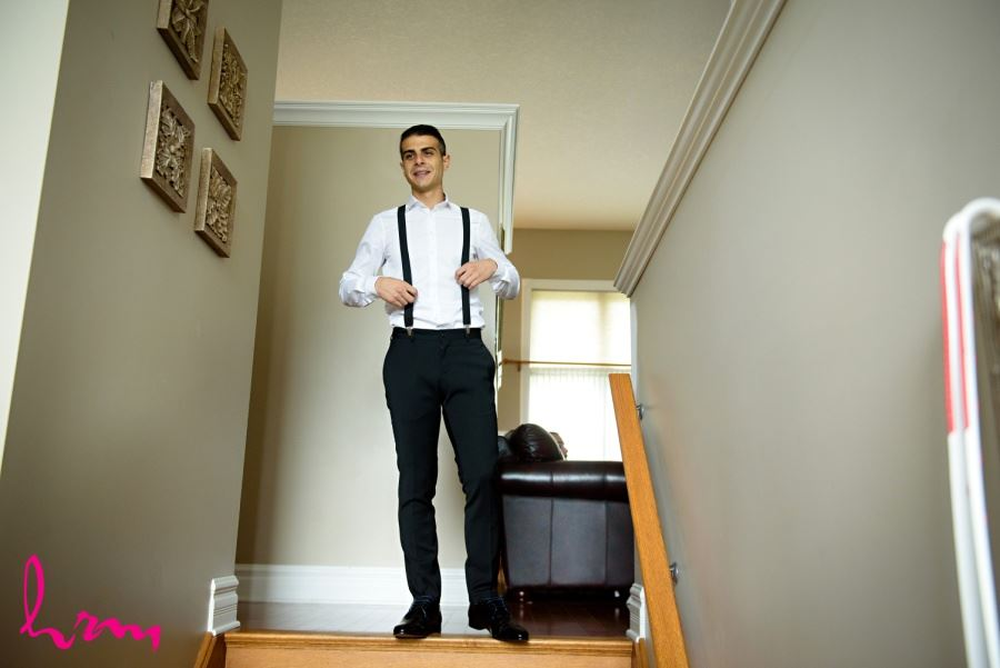 Groom wedding day suspenders