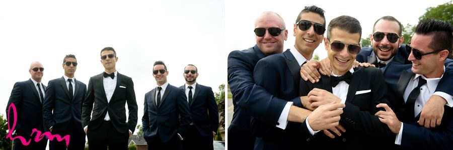 Groomsmen in black and white with sunglasses